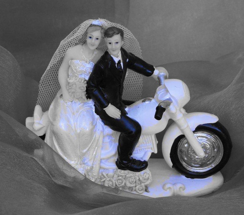 Tortenaufsteller Brautpaar Motorrad