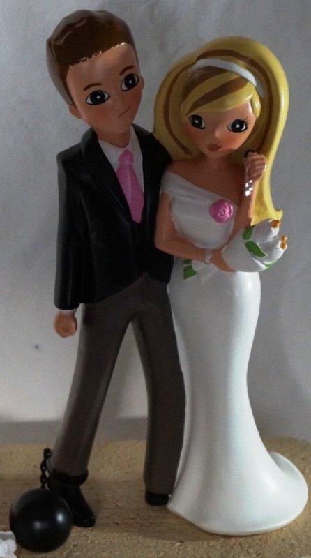 """Tortenaufsteller Brautpaar """"Fußfessel"""""""